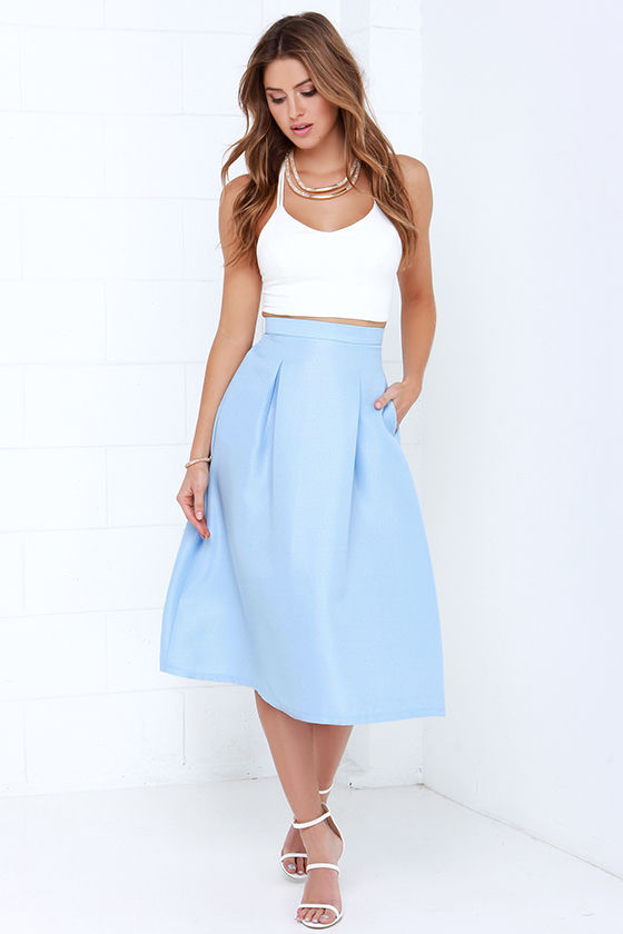 Tiger Mist Bonnie Light Blue Midi Skirt