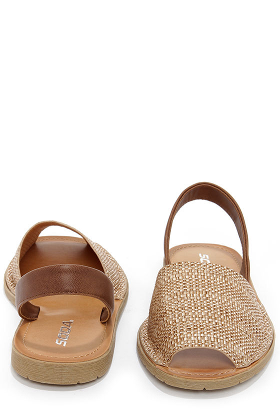 Soda One Taupe Raffia Flat Sandals at Lulus.com!