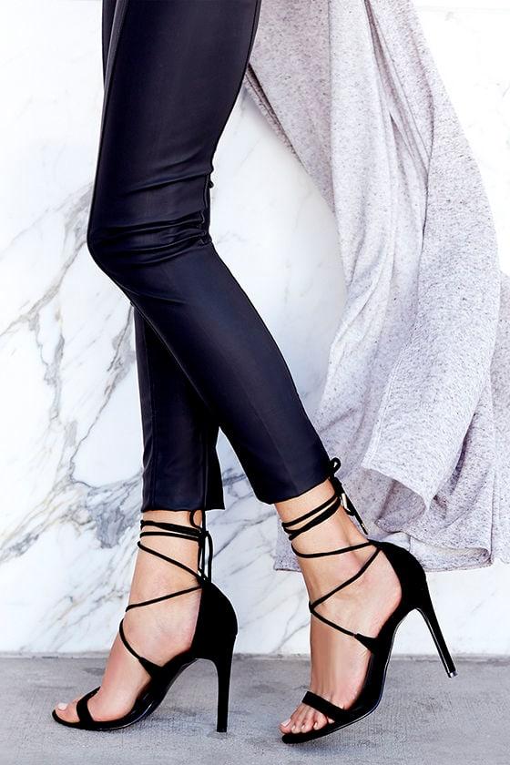 8310a88b282 Sexy Black Heels - Leg Wrap Heels - Leg Wrap Sandals -  89.00