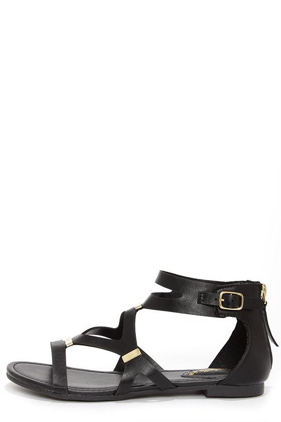 dccd30053bf7 Cute Gladiator Sandals - Black Sandals -  22.00