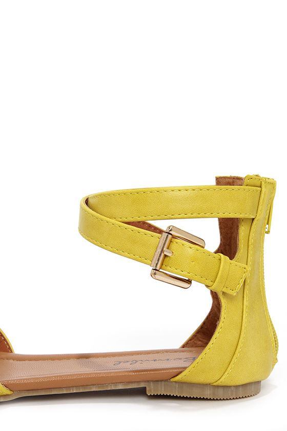 Otter 2 Lemon Yellow Ankle Strap Sandals at Lulus.com!