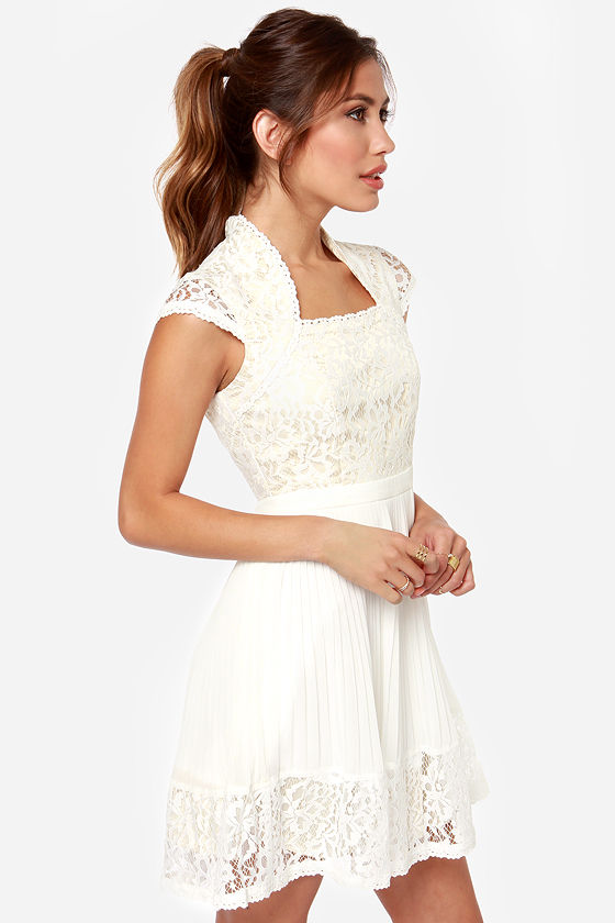 Showered With Kisses Ivory Lace Dress at Lulus.com!
