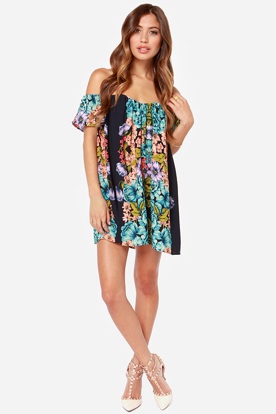 One Fleur the Money Navy Blue Floral Print Dress at Lulus.com!