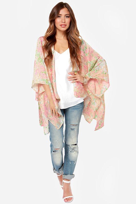 4ff6c38814f9b3 Pretty Pink Top - Kimono Top - Floral Print Top -  45.00