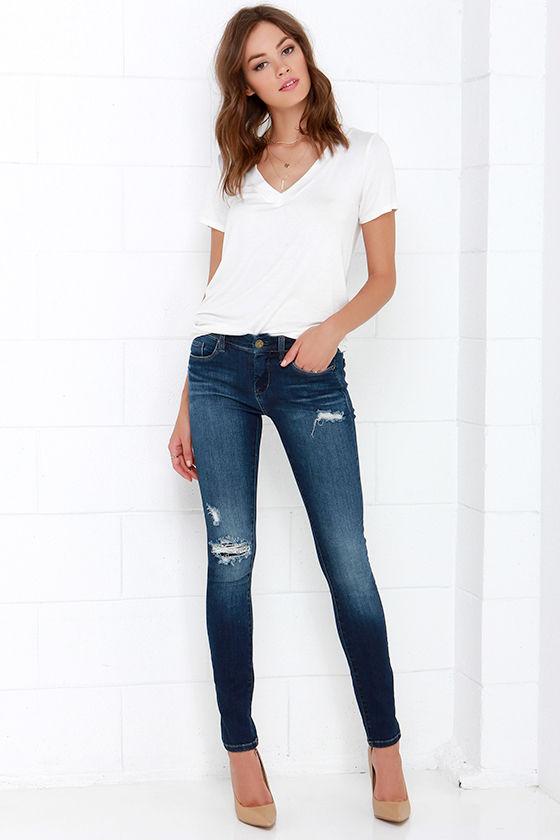 280a83c923 Blank NYC Skinny Classique Jeans - Dark Wash Jeans - Distressed Denim -   79.00