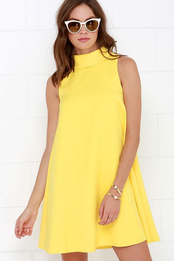 55d4b134e3633 Chic Yellow Dress - Swing Dress - Sleeveless Dress -  66.00