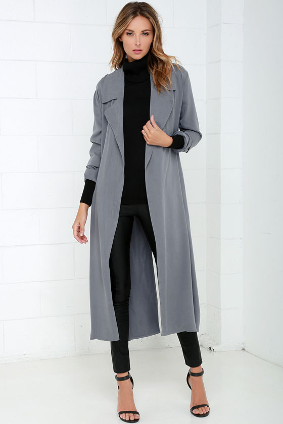 Chic Grey Coat Trench Coat Belted Coat 68 00