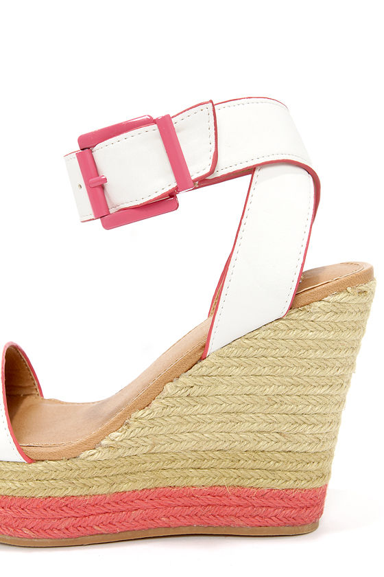 Not Rated White Sand White and Coral Espadrille Wedge Sandals at Lulus.com!