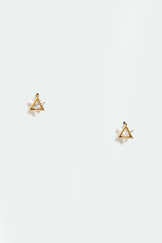 Glimmer Down Gold Rhinestone Earrings at Lulus.com!