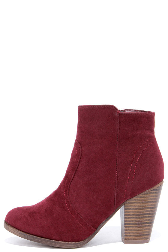 2a435f96b1165 Cute Wine Red Boots - Suede Boots - Ankle Boots - Booties -  34.00