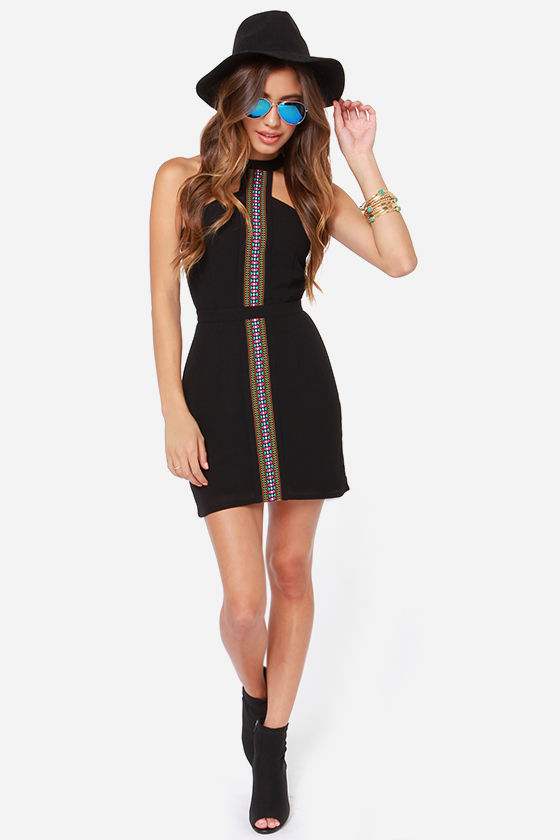 Ladakh Sonoma Trim Embroidered Black Dress at Lulus.com!