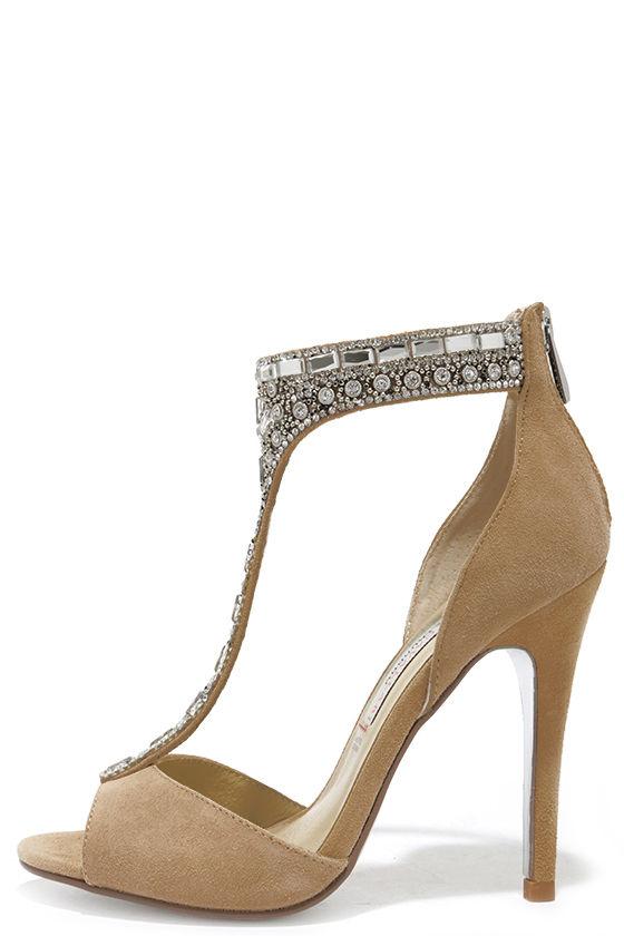 f276e4642 Pretty Nude Heels - Rhinestone Heels - Dress Sandals -  179.00