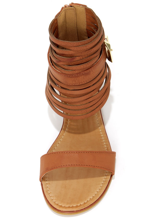 Bamboo Huntington 16 Chestnut Ankle Cuff Sandals at Lulus.com!