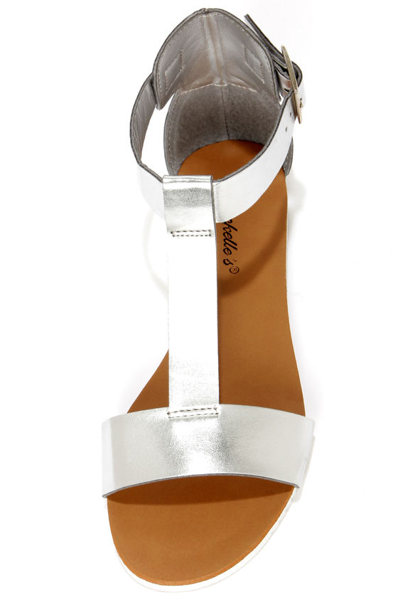 Joy 12 Silver T Strap Flat Sandals at Lulus.com!