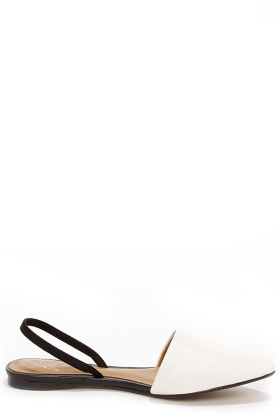 Report Signature Sunburst White Pointed Flats at Lulus.com!