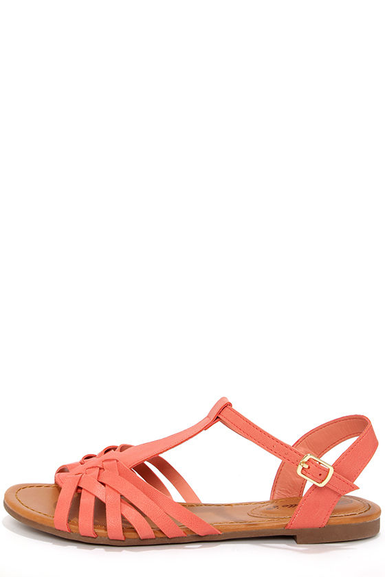 Cute Peach Sandals - Flat Sandals - Strappy Sandals -  19.00