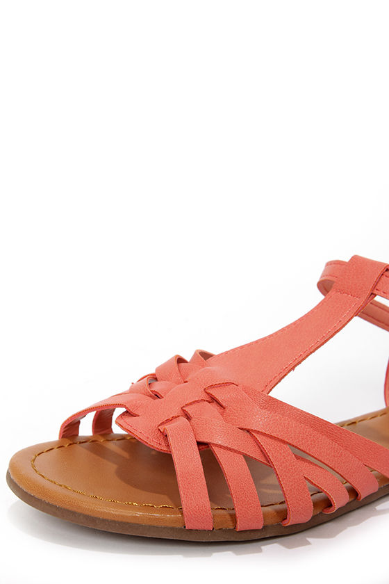 Jill 22 Soft Peach Woven Flat Sandals at Lulus.com!