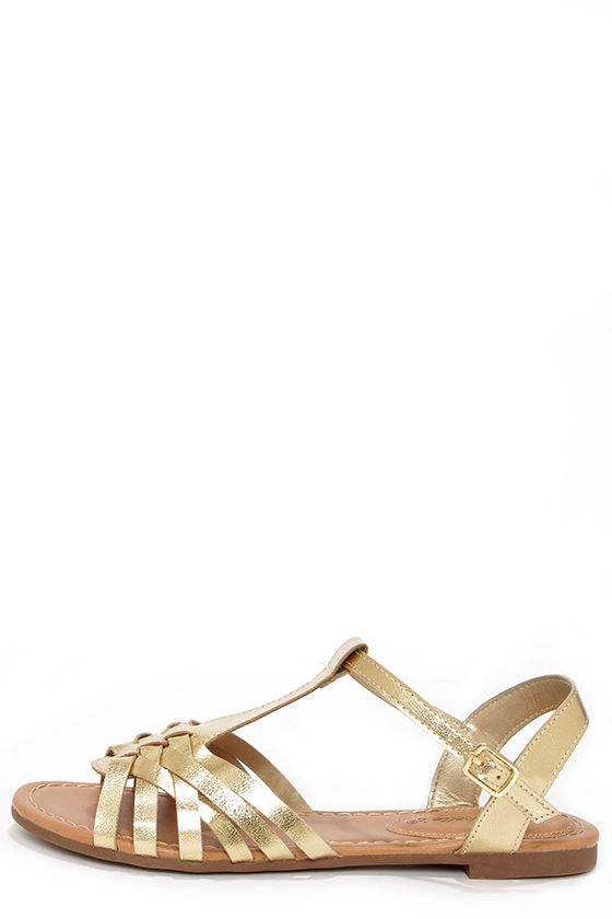 Cute Gold Sandals - Flat Sandals - Strappy Sandals -  19.00