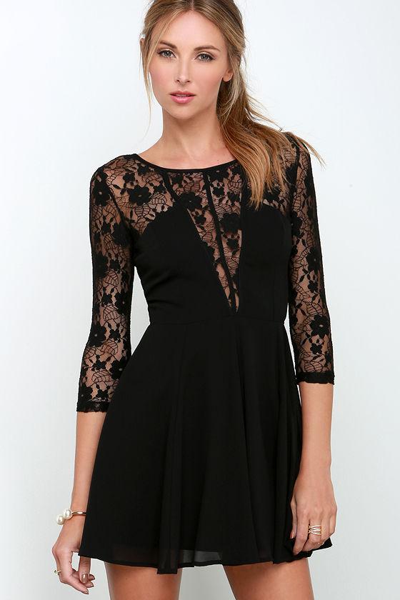 44d5c9f0a66 Sexy Black Dress - Fit and Flare Dress - Lace Dress -  54.00