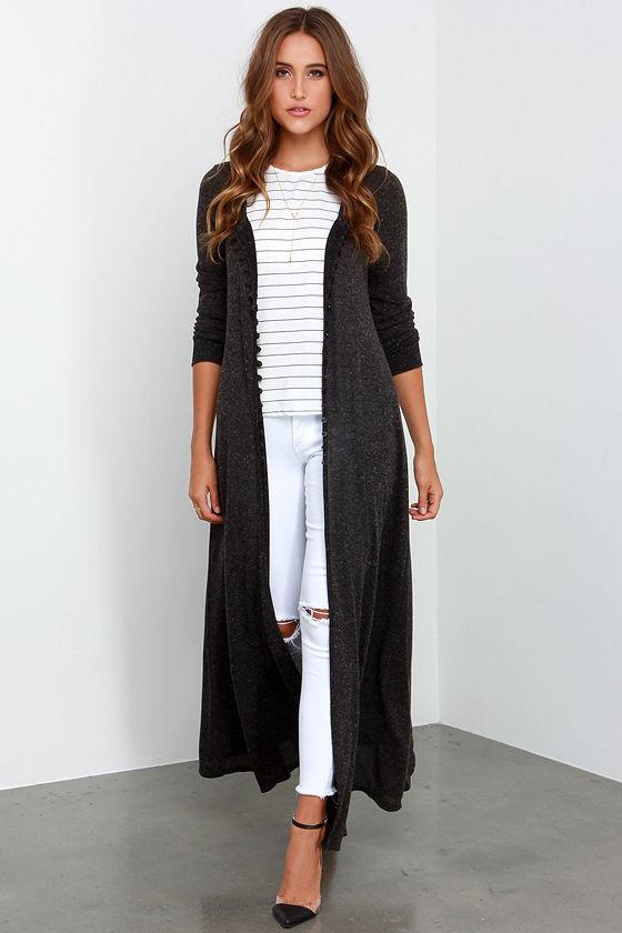 Cute Long Sweater - Black Sweater - Black Duster - $54.00