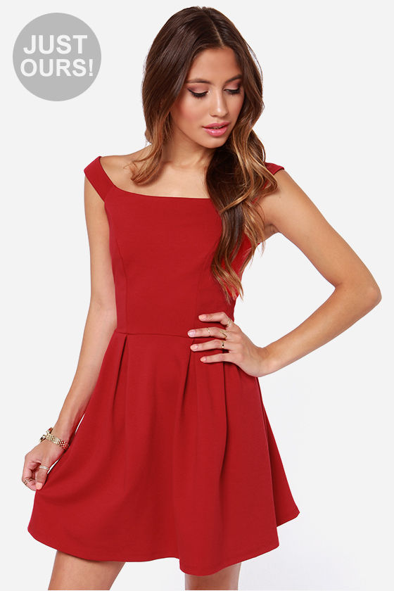 Cute Red Dress - Off-the-Shoulder Dress - Skater Dress - $47.00