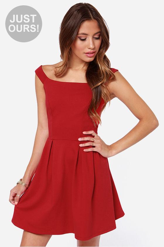 Cute Red Dress - Off-the-Shoulder Dress - Skater Dress - $47.00