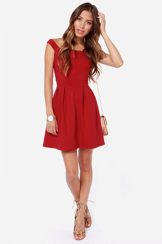 LULUS Exclusive Be Direct Off-the-Shoulder Red Dress at Lulus.com!