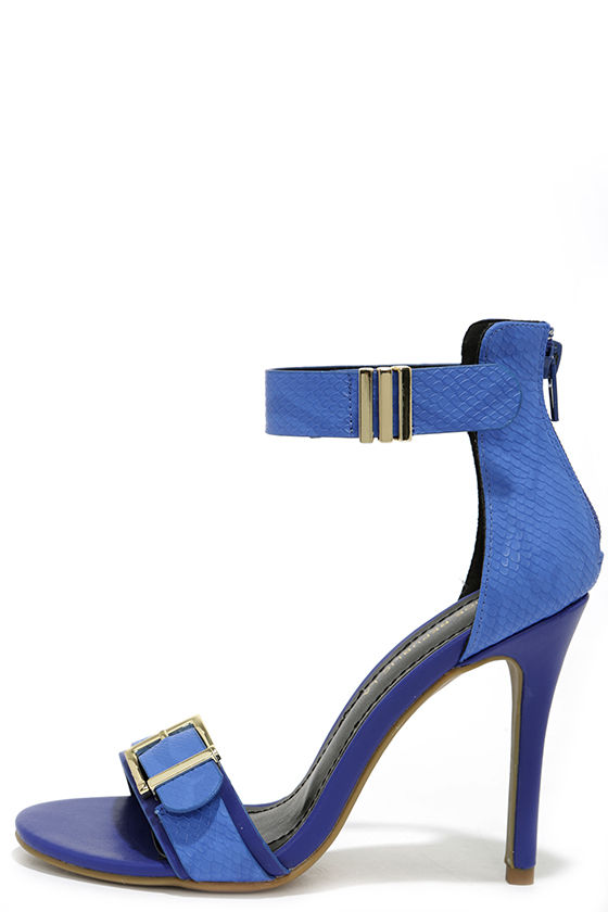 407e8a2f308 Royal Subjects Blue Snakeskin Ankle Strap Heels