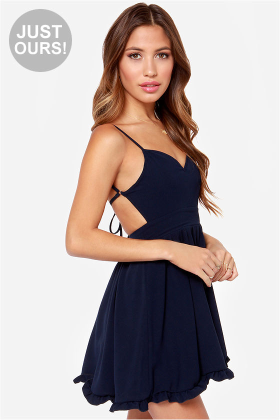 Cute Navy Blue Dress - Backless Dress - Skater Dress - $54.00