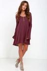 Beautiful Burgundy Shift Dress - Lace Dress - Long Sleeve Dress -  59.00 084a7e07c