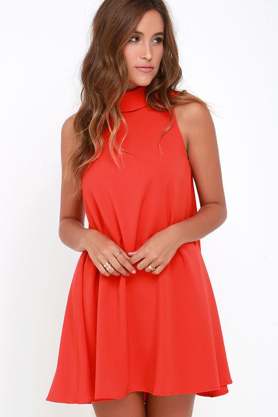 Chic Coral Red Dress - Swing Dress - Sleeveless Dress - $66.00