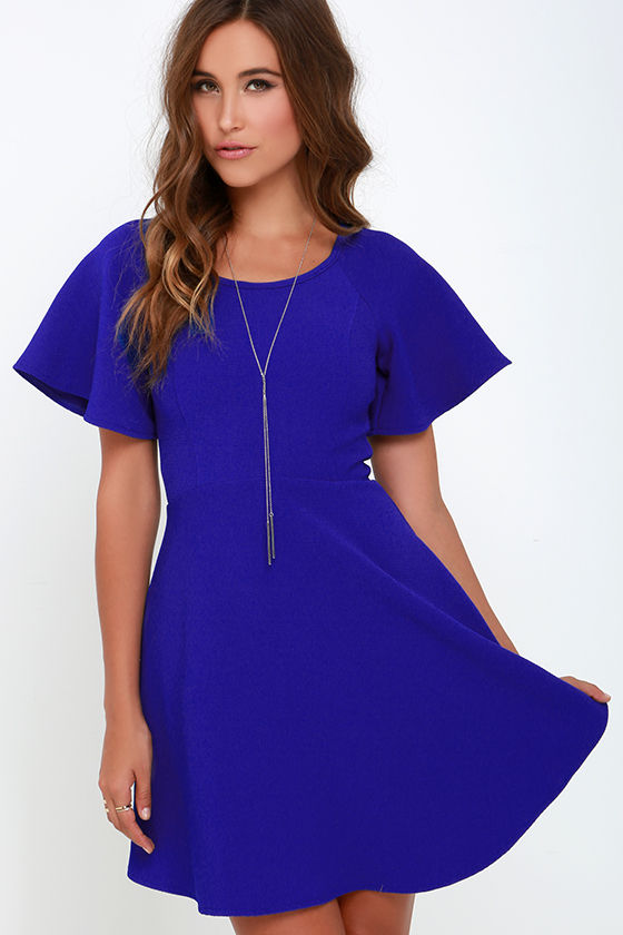 chic cobalt blue dress fit and flare dress short