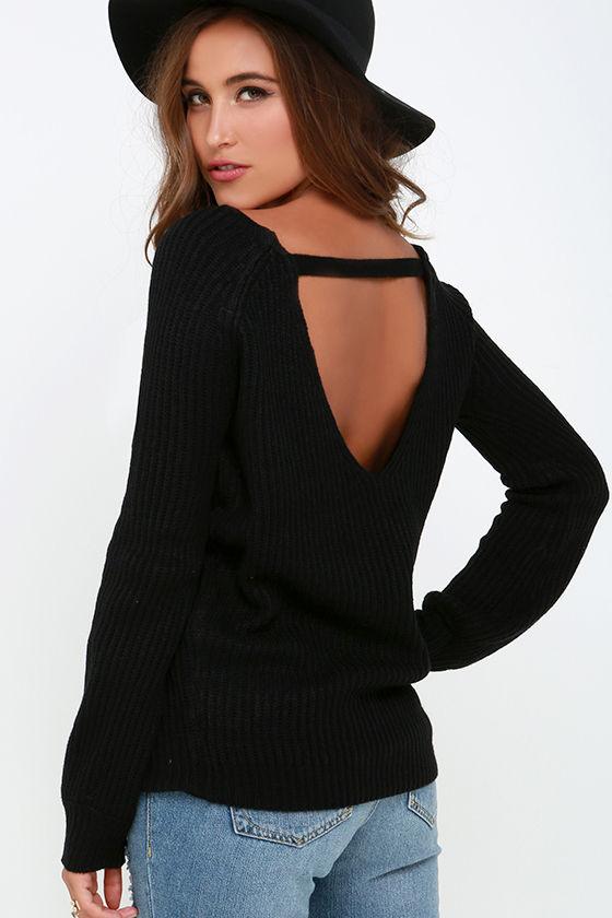 Knit a Chance Black Backless Sweater 1