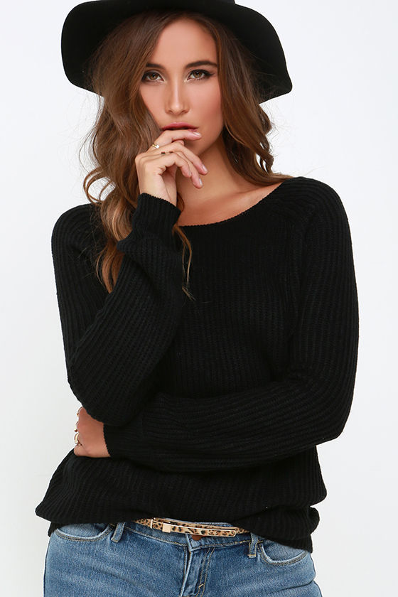 Knit a Chance Black Backless Sweater 3