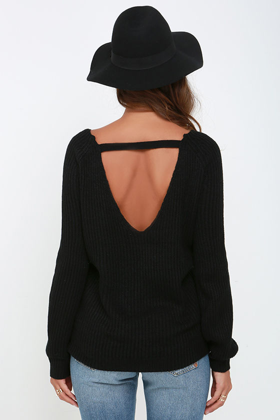Knit a Chance Black Backless Sweater 4