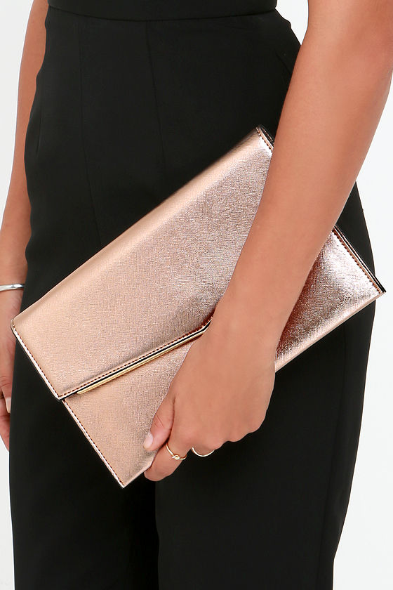 Chic Rose Gold Clutch Gold Purse Vegan Leather Purse
