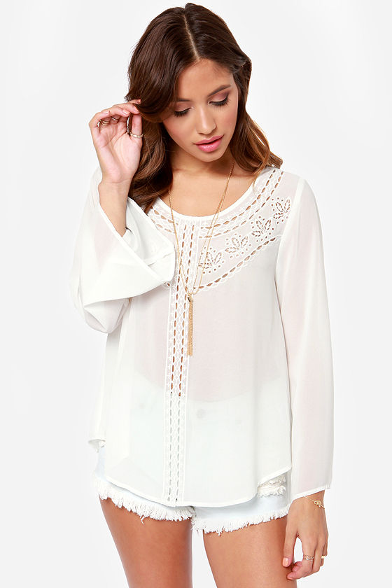 Chances Are Embroidered Ivory Top at Lulus.com!