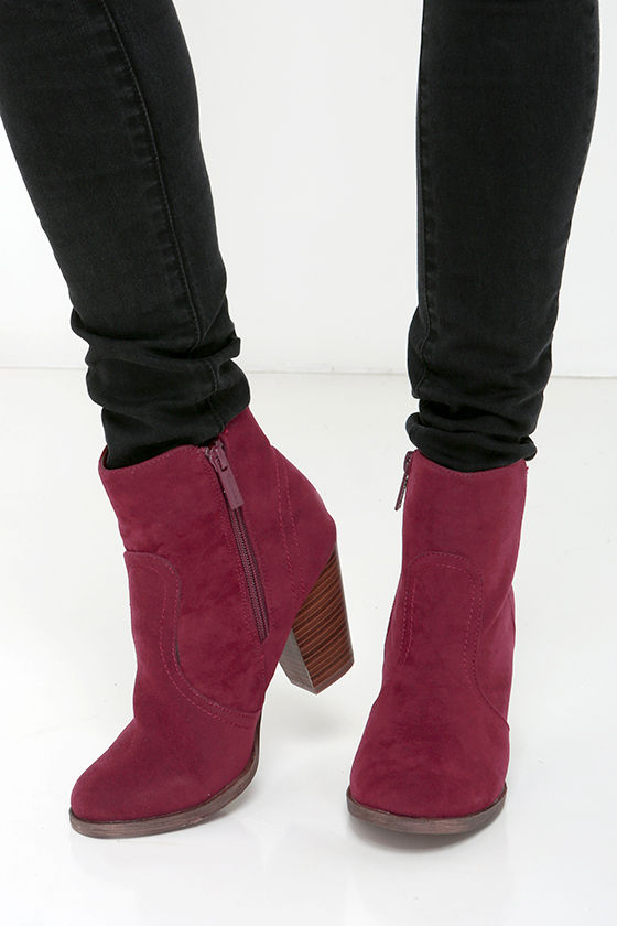 Cute Wine Red Boots - Suede Boots - Ankle Boots - Booties - $34.00