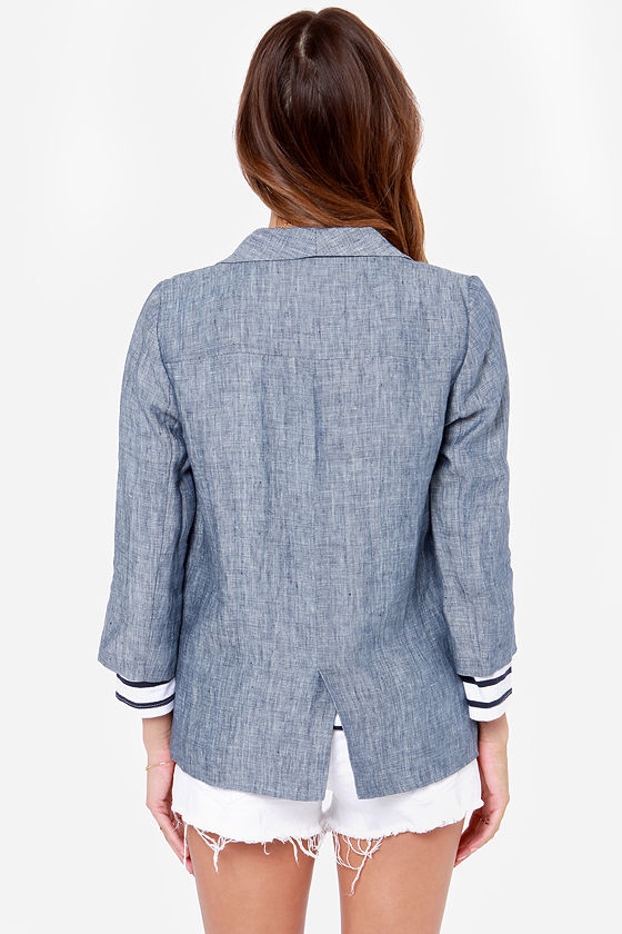 Cham-Brace Yourself Blue Chambray Blazer at Lulus.com!