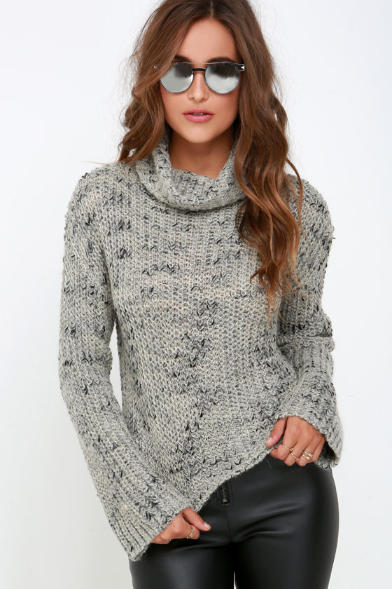 Obey Alexa Sweater - Black and Grey Sweater - Cropped Sweater - $79.00