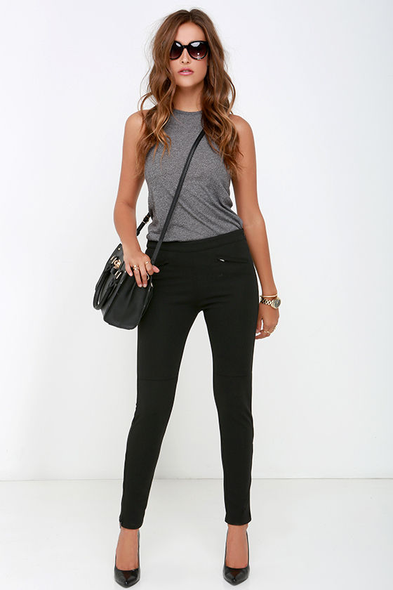 Chic Black Fitted Pants - Ankle Zip Pants - Skinny Dress Pants