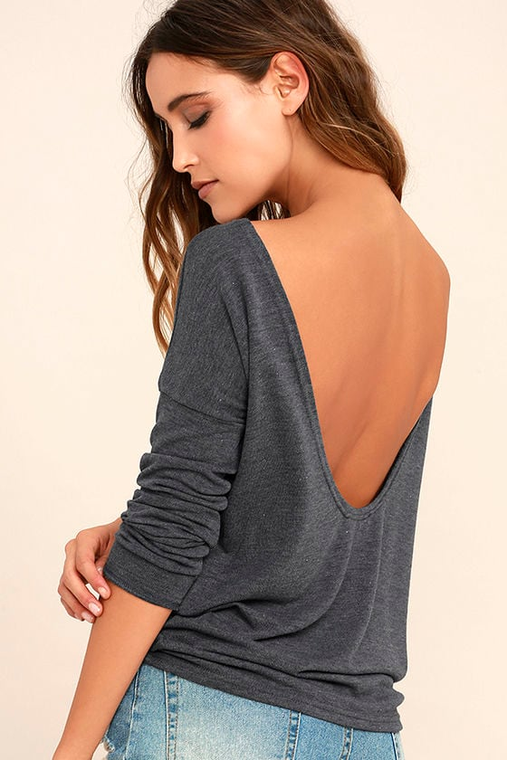Cozy Dark Heather Blue Sweater Backless Sweater Long