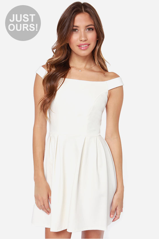 Cute Ivory Dress - Off-the-Shoulder Dress - White Dress - $47.00
