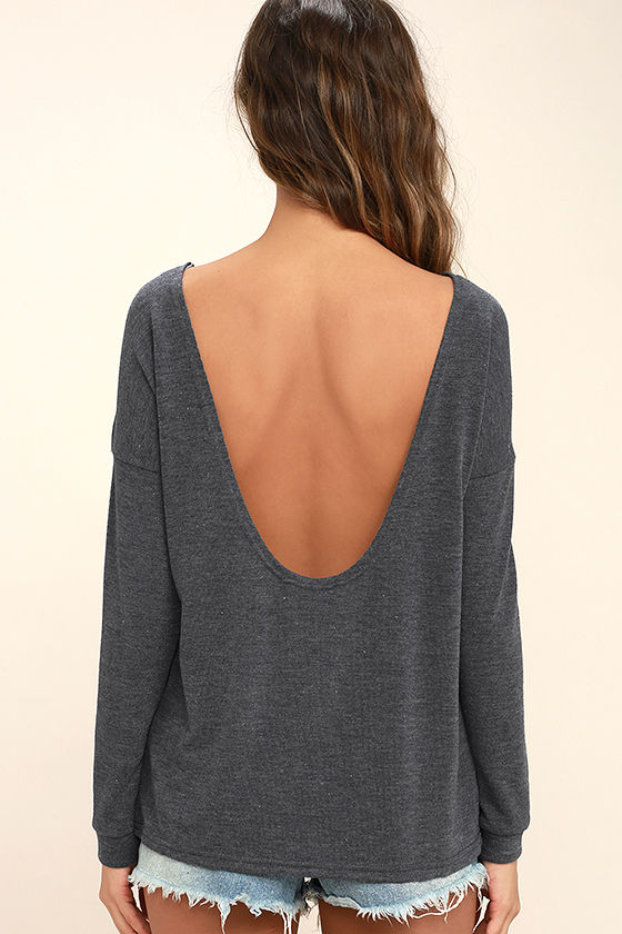 Afternoon Daydream Dark Heather Blue Backless Sweater 4