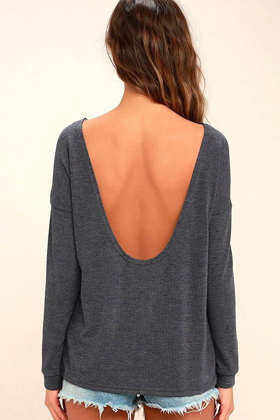 Afternoon Daydream Dark Heather Blue Backless Sweater 4