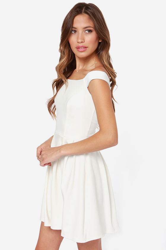 LULUS Exclusive Be Direct Off-the-Shoulder Ivory Dress at Lulus.com!
