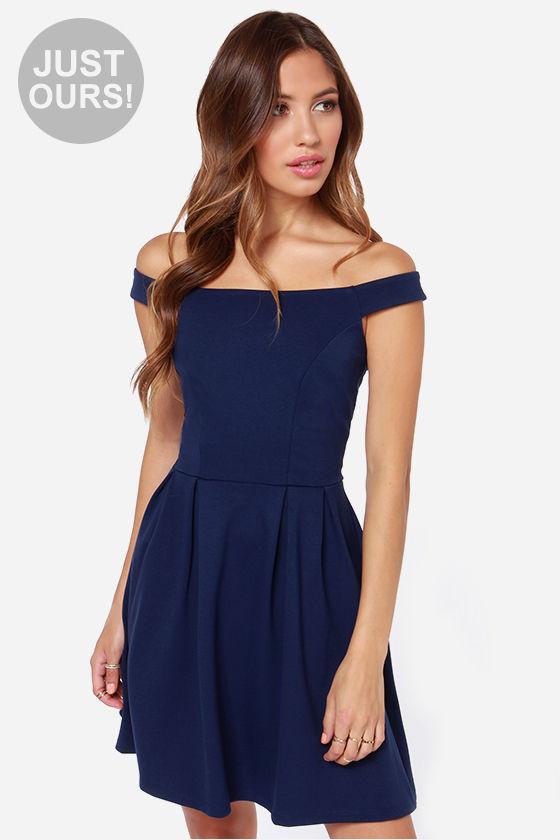 Cute Navy BlueDress - Off-the-Shoulder Dress - Skater Dress - $47.00