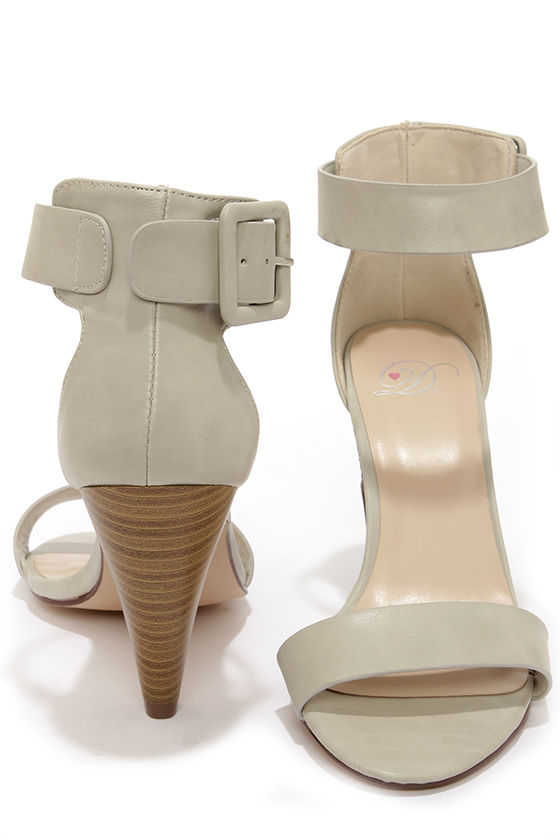 My Delicious Kiska Dove Grey Ankle Strap Cone Heels at Lulus.com!