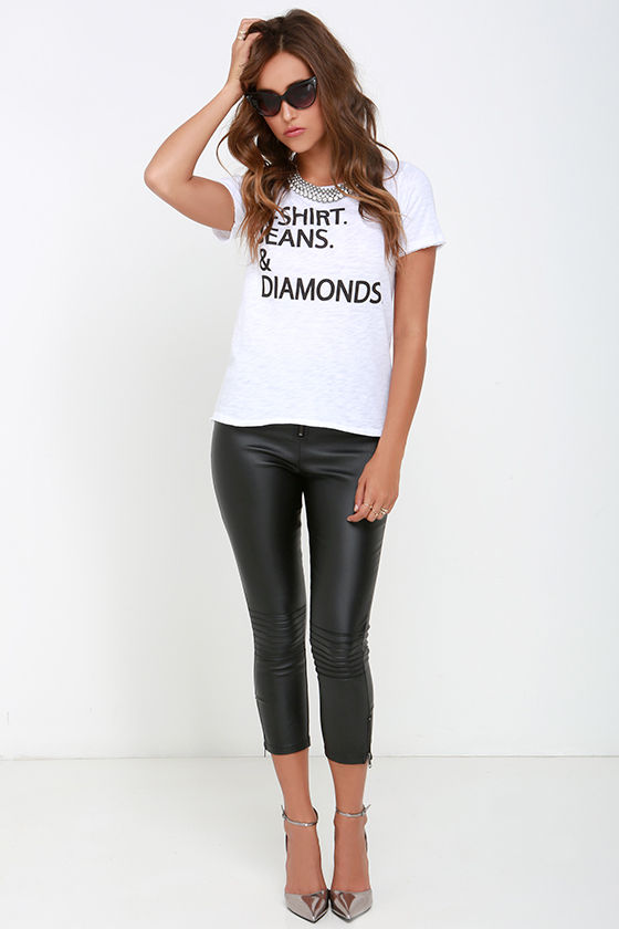 Chaser T Shirt Jeans And Diamonds Ivory Tee Burnout