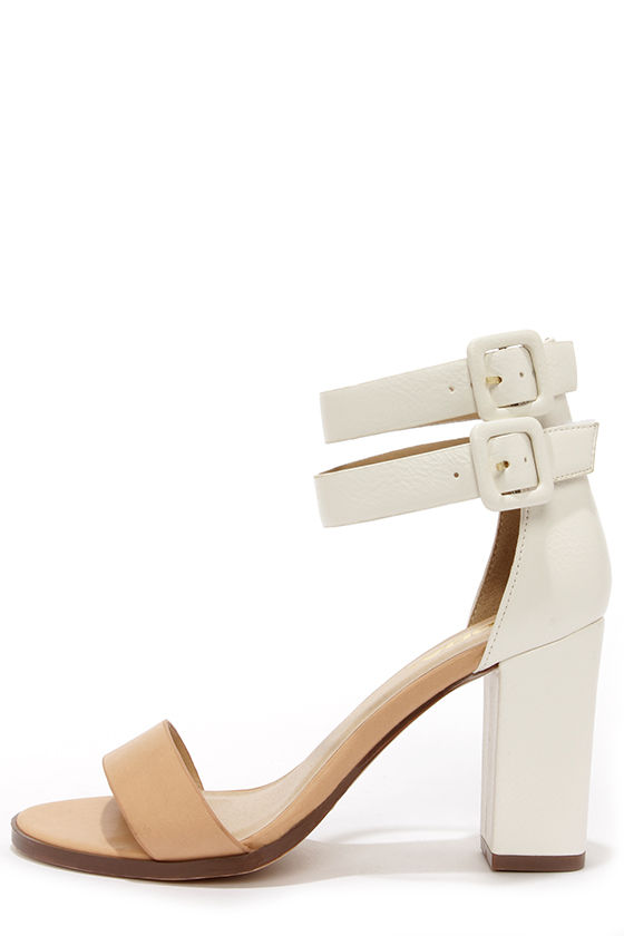 Soda Isa Natural and White Ankle Strap Heels at Lulus.com!